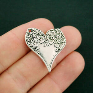 5 Floral Heart Charms Antique Silver Tone 2 Sided Intricate Detail SC6217 $3.99