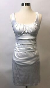 B. Darlin Womens Dress Junior Size 3 4 White Satiny Party Cocktail Flaw