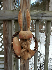 FoLk Art PrimiTive Happy sPriNg EasTer Bunny RABBIT egg DOLL WreaTh DecoraTion
