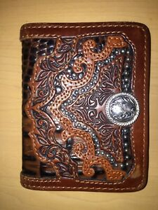 Silver Creek Men's Western BifoldTrifold Leather Wallet By Brighton - EUC