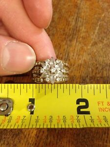 Gold Plated Cubic Zirconia Star Cluster  Wide Band Cocktail Ring: Size 7.5