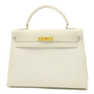 HERMES Kelly 32 Outer sewing Courchevel White gold Hardware 〇 Z Mark Fre...