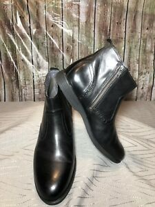 "10  Hush Puppies Men's ""Shepsky"" Designer Ankle Boot Side Zip Black Leather"