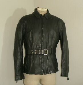 Womens Wilson's ?? Black LEATHER Classic Belted Motorcycle Biker Jacket Coat XL