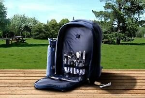 Insulated Picnic Basket Set Lunch Tote Backpack Cooler Picnic Set for 2
