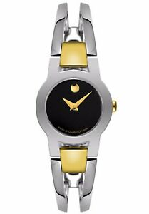 Movado Amorosa Two Tone Stainless Steel Bangle Bracelet Watch 0604760 RV$695