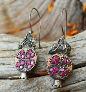 Handmade Antique Turkish Sterling Silver Gold Ruby Pomegranate Earrings Jewelry
