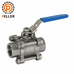 3-piece SS316 Full Port Ball Valve for WaterOilGasLocking Handle 1-12