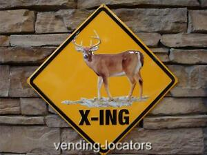 DEER BUCK CROSSING XING METAL SIGN EMBOSSED RUSTIC CABIN LODGE GUN BULLET HOLES
