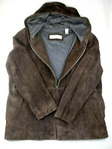 Valerie Stevens Womens Suede Leather Brown Jacket Hooded Casual Coat Size L