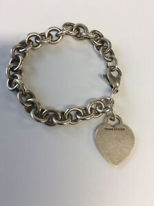 Tiffany & Co 925 Sterling Silver Heart Tag Chain Link Bracelet ~ 35g