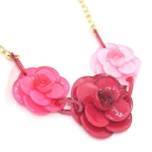 MASSIVE RED SHADES OF PINK ROSE FLOWER Acrylic Resin Gold Bib Statement Necklace