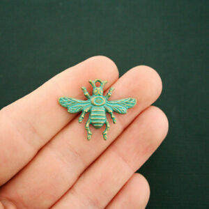 6 Bee Charms Antique Bronze Tone With Faux Patina Accents BC1656 $3.99
