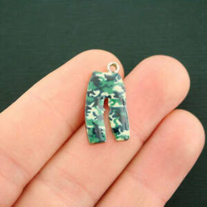 4 Camouflage Pants Charms Gold Tone Enamel Bright and Fun E549