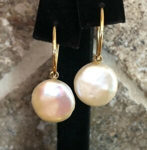 Designer GABRIELLE SANCHEZ Button Pearl Earrings 14K Yellow Gold Endless Hoops