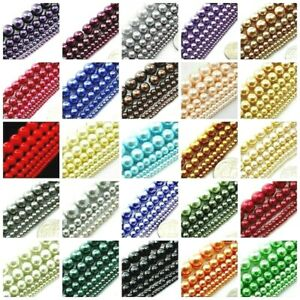 High Quality Glass Pearl Round Spacer Loose Beads 3mm 4mm 6mm 8mm 10mm 12mm 16 $3.29