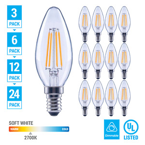 Pack LED 4.5W 60W Chandelier Dimmable Filament B11 Clear E12 Base Soft White