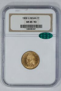 1909 S INDIAN HEAD CENT 1C NGC & CAC CERTIFIED MS65RD UNCIRCULATED - RED (007)