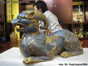 Bronze 24K Gold Cloisonne Enamel Foo Dog Dragon Beast Kirin Brave Unicorn Troops