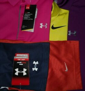 Lot 5 Under Armour Nike Dri-Fit Fit-Dry Mens Polo Shirts S Small 2 NWT
