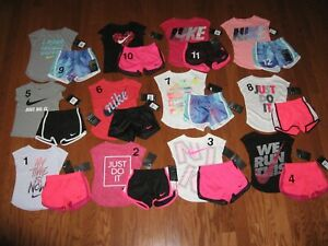 Nike 2 Pc Outfit Set Tee Shirt & Dri Fit Shorts Toddler Girls 2T 3T 4T NWT $23.99