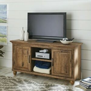 Flat Screen TV Stand Entertainment Media Television Oak Wood Furniture Console