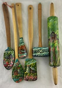HAND PAINTED RED BARN SCENIC SIGNED WOODEN SPOONROLLING PIN KITCHEN DECOR SET 6