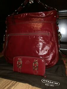 Coach Red Patent Leather ZOE Hobo Bucket Duffle Purse Bag Tote Wallet 12736