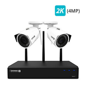Defender 2K (4MP) Wireless 4 Channel 1TB Security System with 2 Wi-Fi Cameras