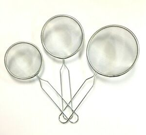 Set of 3 Metal Mesh Strainers Sieve with Handle Kitchen Ware  3 Different Sizes