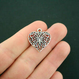 6 Butterfly Heart Charms Antique Silver Tone Delicate Design SC6091