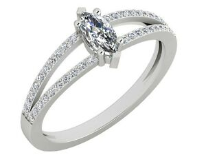 14kt White Solid gold 0.56CT Certified Solitaire Diamond ring Wedding Jewelry