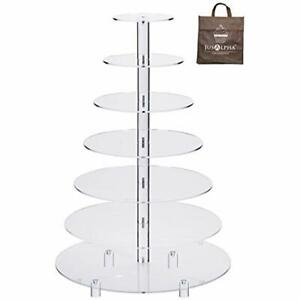 Cupcake Stands Large 7-Tier Acrylic Round Wedding Cake Stand-Cupcake Serving For