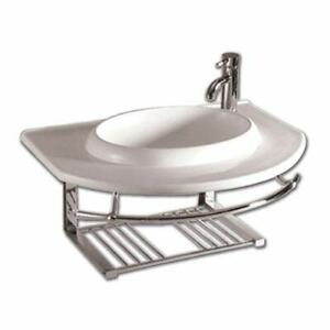 Isabella White Large Wall Mount Basin wIntegrated Round Bowl Single Faucet