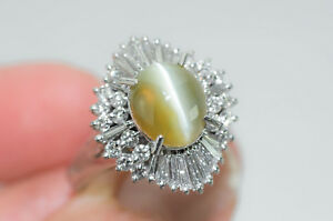 5.74CTW vintage ballerina style cats eye chrysoberyl platinum diamond ring