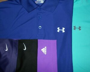 Lot 5 Under Armour Adidas Nike Dri-Fit Fit-Dry Mens Polo Shirts L Large 2 NWOT