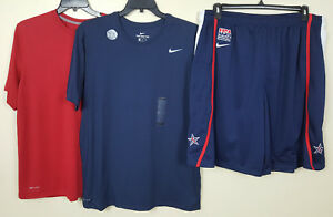 NIKE TEAM USA BASKETBALL SHORTS +2 DRI-FIT SHIRTS OUTFIT BLUE RED RARE (SIZE XL)