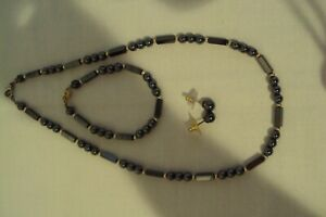 Vintage Black Round and Rectangle Bead Jewlery Set