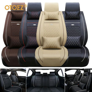 Universal Deluxe 5-Seats Car Seat Cover Front PU Leather +Rear Cushion W/Pillow