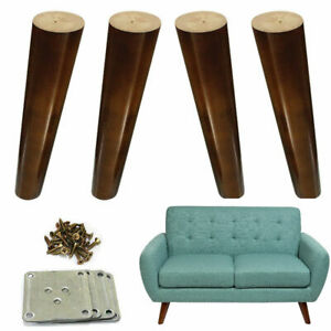 4x Wood Furniture Legs Angled 8 inch Cabinet Couch Dresser Legs Walnut Finished