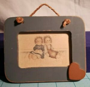 Raggedy Ann amp; Andy Hand Painted Picture in Small Blue Wooden Frame with a Heart $16.00
