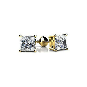 New 1.50 CT Lady's Princess Cut in Yellow Platinum Diamond Stud Earrings FVS-2