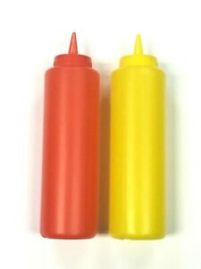 2pc Set Ketchup Mustard Plastic Squeeze Bottle Set Dispenser Cap  Yellow and Red