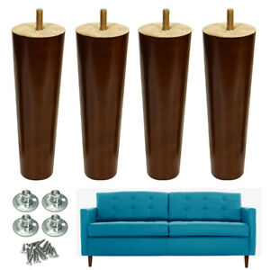 Furniture Legs x4 Wooden Walnut Finished 6-8 inch Sofa Couch Chair Cabinet Legs