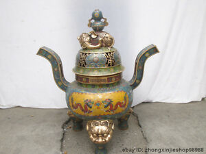 China 100% Pure Bronze cloisonne Gilt Buddhism Elephant Zun incense burner Cense