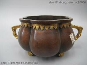 China Palace Purple Bronze 24K Gold Flower shape Royal Incense burner Censer