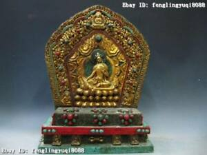 19 Tibet Old Wood inlay Copper Bronze Gild turquoise coral Shrine TangKa Statue