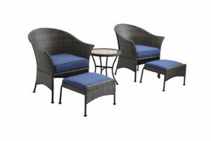 Patio Chat Set Garden Furniture Chairs W Ottoman Coffee Table All Weather Wicker