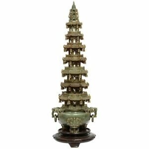 Monumental Chinese Green Translucent Jade Carved Pagoda Censer 19th Century