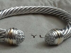 David Yurman Sterling Silver 18k gold 7mm cable classic pave diamond tip 6.5